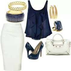 Navy and white for a polished look day and night ♥