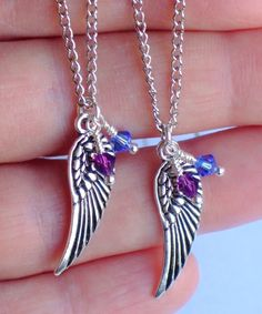 Set of 2 Angel Wing Necklaces, Personalize for Mom, Mother & Daughter(s), Sisters, Best Friends - Choice of Birthstone Bead - Antique Silver. $36.00, via Etsy.