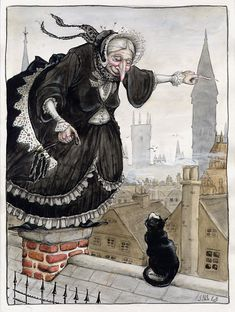 "Over the rooftops ""An old hag asking for directions.""- by Luisa Kelle… Image Halloween, Halloween Art, Halloween Witches, Baba Yaga, Hansel Y Gretel, Images Vintage, Photo D Art, Season Of The Witch, Vintage Witch"
