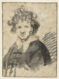 Amsterdam Rijksmuseum: Zelfportret van Rembrandt van Rijn, Rembrandt Harmensz. van Rijn, 1628 - 1629