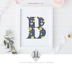 Nursery Decor Letter Art Custom Monogram Design Baby Girl Initial Printable Flower Calligraphy Monogram Name Initial Art Printable Letter