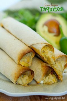 Creamy Jalapeno Taquitos - So much flavor, filling made in the slow cooker, for an easy, low mess meal!  Eazy Peazy Mealz