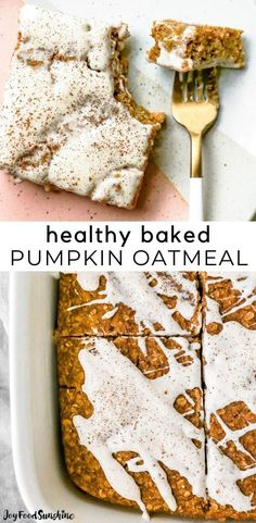 This Pumpkin Baked Oatmeal recipe is a delicious, healthy fall breakfast. It is perfectly spiced with a beautiful texture and topped a delicious cinnamon cream cheese glaze. Baked pumpkin oatmeal is easy to make with a handful of nutritious ingredients, and it's freezer-friendly!