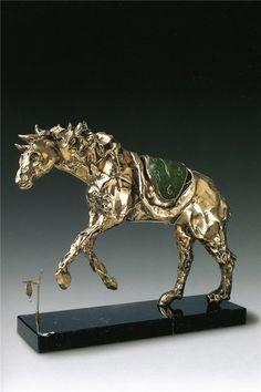 SCULPTURES ON THE WORKS OF SALVADOR DALÍ \\ Horse under saddle time  \\ Material: Bronze \ Date: 1980