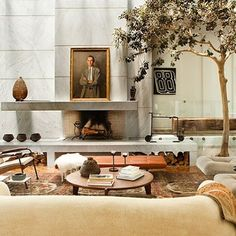 Can't get enough of this living room design by for Ellen Degeneres Home, Living Room Designs, Living Spaces, Living Rooms, Design Salon, Interior Architecture, Interior Design, Villa, Fireplace Design