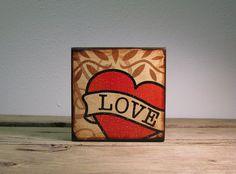 Retro Tattoo Art Love Heart Wood Block Painting  by MatchBlox, $29.00