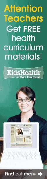 KidsHealth is pleased to offer free health resources for preK-12 teachers through KidsHealth in the Classroom. Teacher's Guides include discussion questions, quizzes and answer keys, classroom activities and extensions, and printable handouts - all aligned to National Health Education Standards. http://classroom.kidshealth.org/