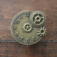 Steampunk Clock Drawer Knobs / Cabinet Knobs with Gears by DaRosa