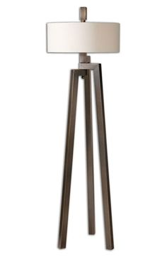 Free shipping and returns on Uttermost 'Mondovi' Hand Forged Metal Floor Lamp at Nordstrom.com. Brushed metal, clean lines and a crisp white drum shade make this hand-forged metal floor lamp a contemporary standout that will add the perfect defining touch to your room. The metal is finished in antiqued bronze with golden undertones for a subtly glowing look.
