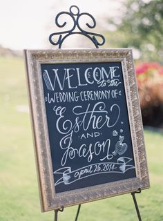 Fancy wedding sign: http://www.stylemepretty.com/2014/09/16/romantic-hillside-wedding-in-san-clemente/ | Photography: Kurt Boomer - http://kurtboomer.com/