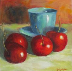 Still Life Painting Red Cherries and Turquoise by ChatterBoxArt
