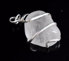 Tumble Shape Crystal Quartz 925 Silver Plated Wire Wrapped Jewelry Pendant E535 #valueforbucks #Pendant