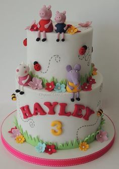 Peppa Pig - Cake by Shereen - CakesDecor Tortas Peppa Pig, Bolo Da Peppa Pig, Peppa Pig Birthday Cake, Birthday Cake Girls, 3rd Birthday, Birthday Ideas, Character Cakes, Just Cakes, Novelty Cakes
