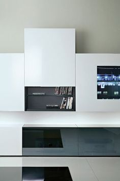 Media Case by Acerbis, wall unit with hidden storage in laquered white  _