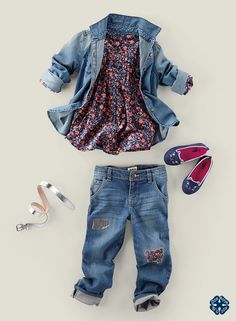 Modern Heritage: Denim loves flowers & shine.  Shop more old school pieces with a new school twist at OshKosh.