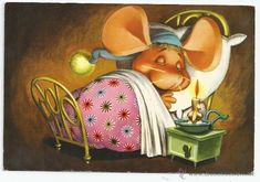 POSTAL * * Topo Gigio in bed - No. 10 - 1966 (Postcards - Drawings and Caricatures)