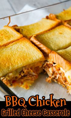 BBQ Chicken Grilled Cheese Casserole is an easy weeknight dinner recipe using shredded rotisserie chicken and loaded with BBQ sauce, bacon, cheddar and mozzarella. Vegan Recipes Easy, Easy Dinner Recipes, Diet Recipes, Cooking Recipes, Breakfast Recipes, Game Recipes, Kraft Recipes, Sandwich Recipes, Dinner Ideas