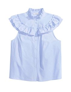 Fast Fashion Items From Zara, Topshop and H&M That Look Expensive Ruffle Collar Blouse, Frill Blouse, Blue Blouse, Cotton Blouses, Shirt Blouses, Blouse En Coton, Corsage, Shirt Style, How To Wear