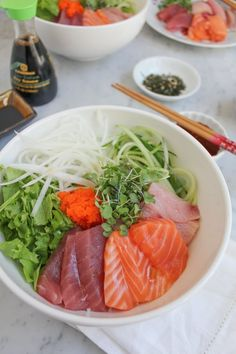 Very similar to Japanese sashimi donburi, this Korean Mixed Rice with Sashimi is the same kind of dish but uses a slightly sweet and spicy sauce, using gochujang. You've got to try this! Japanese Sashimi, Japanese Diet, Sushi Recipes, Asian Recipes, Ethnic Recipes, Diet Recipes, Recipies, Tempura, Mochi