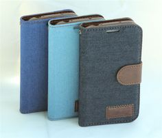 Luxury Vintage Jeans Canvas Style PU Leather Flip Stand Wallet Magnetic Case Soft Back Cover For samsung galaxy S4 active i9295