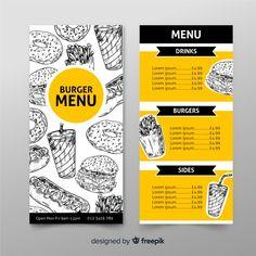 Restaurant burger menu template in hand ... | Free Vector #Freepik #freevector #food #menu #hand #template Food Web Design, Food Graphic Design, Food Poster Design, Food Truck Design, Cafe Menu Design, Menu Card Design, Restaurant Menu Design, Burger Menu, Menu Layout