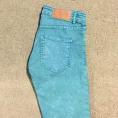 Teal Skinny Jeans Washed out look colored jeans! H&M Jeans Skinny