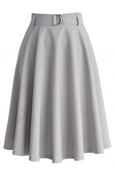 Neutral Grey Belted A-line Skirt - Retro, Indie and Unique Fashion