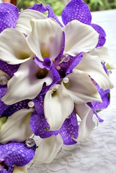 Calla lily and purple Vanda orchid