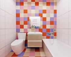 Bright Colors, Colours, Bathroom Colors, Design Projects, Toilet, Interior Design, Nest Design, Bright Colours, Bright Color Schemes