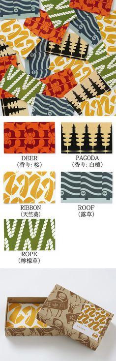 【名刺香 House Industries(中川政七商店)】/アメリカのフォントデザイン会社であるHouse Industriesが、日本にインスピレーションを受け生み出したテキスタイル。紙に香りを染み込ませたお香「名刺香」です。名刺と一緒に入れておくことで、名刺にほのかな香りがうつります。本棚に飾ったり、香り付きのメッセージカードとしてもお使いいただけます。コラボレートロゴがプリントされた箱入りですので、贈りものにもおすすめです。 #houseindustries