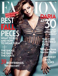daria werbowy fashion cover1 Daria Werbowy Shines on Fashion Canadas October 2013 Cover