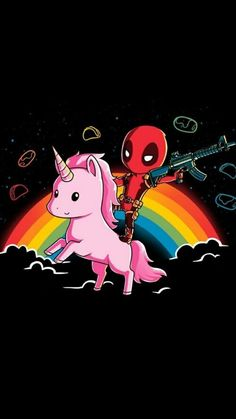 Check out this awesome collection of Fresh Deadpool Riding Unicorn Iphone is the top choice wallpaper images for your desktop, smartphone, or tablet. Cute Deadpool, Deadpool Unicorn, Deadpool Art, Deadpool And Spiderman, Deadpool Quotes, Deadpool Tattoo, Deadpool Costume, Deadpool Movie, Deadpool Wallpaper
