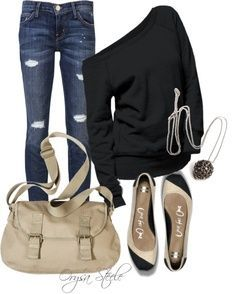 Cute and casual outfit for Fall...black & beige. LOVE!!!
