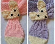 Adjustable Fox Hand Knit Scarf / neck warmer for Kids or Adult