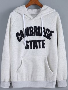 Grey Hooded Letters Print Loose Sweatshirt , High Quality Guarantee with Low Price!