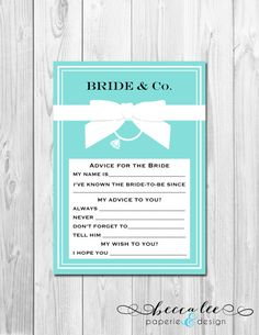 Advice for the Bride - Tiffany & Co Theme - Printable on Etsy, $6.00