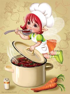Illustration ~ By Olga & Alexey Drozdov Images Victoriennes, Cute Images, Chef Kitchen Decor, Kitchen Art, Chef Pictures, Food Illustrations, Cute Illustration, Recipe Cards, Fabric Painting