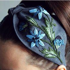 Best 12 null via – SkillOfKing. Hand Embroidery Flowers, Ribbon Embroidery, Snowflake Embroidery, Embroidery Art, Fabric Headbands, Handmade Headbands, Boho Bridal Hair, Hair Turban, Hat Shop