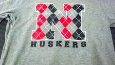 GROW NEBRASKA - Argyle Husker N - Bella Canvas - Thermal - Long Sleeve - t-shirt - tee shirt - design - screen print - screenprint - Kearney, NE - Shirt Shack