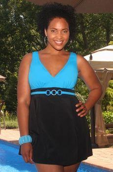 Women's Plus Size Swimwear - Always For Me In Control Nautical Swimdress Style #CO5054-10x
