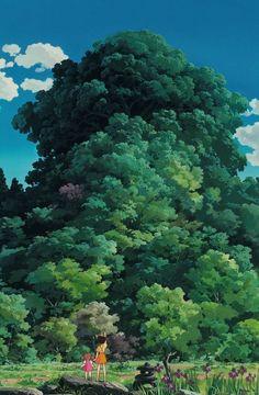 """""""My Neighbor Totoro となりのトトロ"""" by Kazuo Oga* // Ghibli wallpaper Art Studio Ghibli, Studio Ghibli Movies, Studio Ghibli Background, Animation Background, Bd Art, Scenery Wallpaper, Wallpaper Art, My Neighbor Totoro, Hayao Miyazaki"""