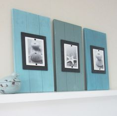 Set of Three Long Cottage Plank Frames with Shades of Turquoise  for 4X6 Pictures