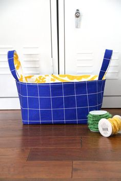 How to Make a Reversible Fabric Storage Basket | eHow