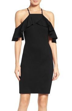 NSR Ruffle Cold Shoulder Sheath Dress available at #Nordstrom