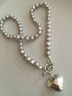Silver Grey Freshwater Pearl necklace by SheRocksGemjewellery