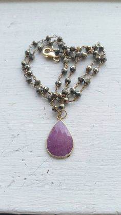 Sapphire Pendant and Pyrite Chain Necklace