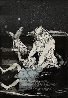 Artwork by Paula Rego, Mermaid Drowning a Girl, Made of ceramic Paula Rego Art, Weird Things, Mermaid Art, Social Issues, Portuguese, Strong Women, Painters, Mermaids, Surrealism
