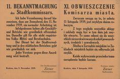 Obwieszczenie dotyczące dnia 11 listopada, Obchodów Święta Niepodległości nie przewidywano - miał to być zwykły dzień roboczy. Kraków, 9 listopada 1939 r.