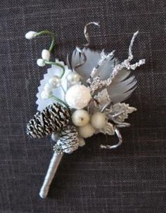 winter wedding boutonnière