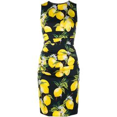 Dolce & Gabbana Lemon Print Cotton Dress ($1,555) ❤ liked on Polyvore featuring dresses, black dress, dolce gabbana dresses, kohl dresses, cotton dress and cotton day dresses